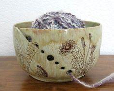 Yarn Bowl Knitting Organizer Dandelions Hand Thrown by JustMare
