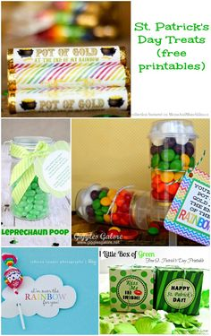 This collection of St. Patrick's Day treats and free printables are perfect for leaving your little leprechauns delicious treats on St. St Pattys, St Patricks Day, Holiday Treats, Holiday Fun, Candy Quotes, Candy Sayings, St Patrick Day Treats, Irish Beer, Chocolate Bar Wrappers