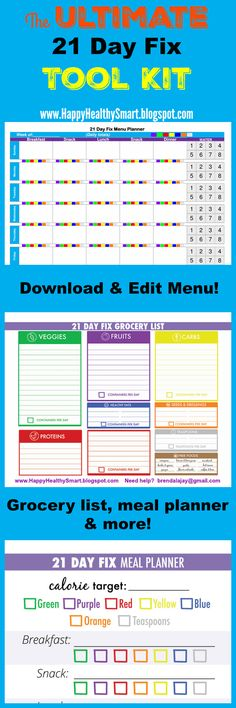 The ultimate meal planning tool kit! 21 Day Fix food list, download & edit weekly menu planner, container counter and more! #21dayfix, #printables #mealplanning