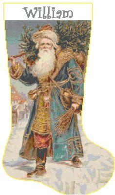 Cross Stitch Christmas Stocking Santa 1 with Name