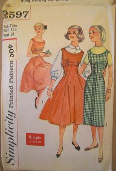 """Old patterns - sizes have changed Adult size 12:  Bust 30"""", Waist 24"""", Hips 33""""."""