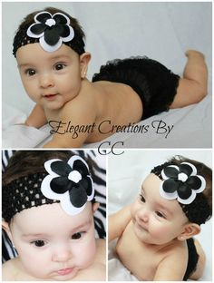 "3"" Princess Grosgrain Double Rose Hairbow & 1.5"" Black Crochet Headband by ElegantCreationsByCC, $4.99"