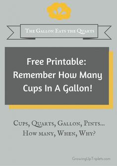 How Many Cups in a Quart? - Growing Up Triplets #kitchen #freeprintable