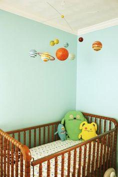 aqua nursery with celestial mobile Aqua Nursery, Baby Boy Nursery Themes, Nursery Decor Boy, Baby Boy Nurseries, Nursery Room, Baby Room, Circus Nursery, Room Decor, Monster Room