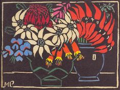 Margaret Preston Woodblock 'Sturt's Desert Pea' 1925 - and Actinotus (flannel flower), Blandfordia (Christmas bells), Teleopea (waratah). Margaret Preston, Margaret Rose, Australian Wildflowers, Australian Flowers, Australian Painters, Australian Artists, Botanical Art, Botanical Illustration, Linocut Prints