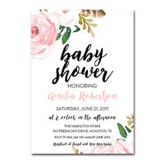 Editable PDF Baby Shower Invitation DIY - Pretty Floral - Instant Download Printable- Edit in Adobe Reader