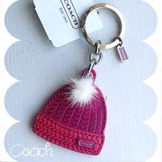 Cute!! 💯Auth Coach Keychain Fob NWT~Ski Hat~ Coach Keychain Ski Cap with Mink Pom Pom~NWT~Smoke Free Home~Pink/Red/White~~~🚫No Trades🚫 Coach Accessories Hats