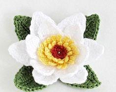 Patrón de flor de ganchillo PNG, lirio de agua patrón ganchillo, patrón de punto de la hoja, applique de la flor, patrón de ganchillo fácil, descarga inmediata.