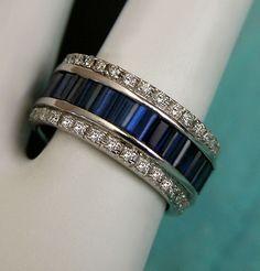 6.75 CTW VINTAGE ESTATE SAPPHIRE & DIAMOND RING ETERNITY BAND 18K WG! Size 6.5 | eBay