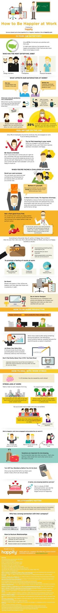 How to Be Happier at Work #infographic #HowTo #Happy #Office #Career #Job