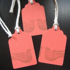 """FREE SHIPPING Poppy Color Gift Tags - hand stamped Brown Birds - 24 pc. 2"""" with twine $5.00"""