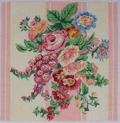 The Collection Designs Pink Flowers 130 Hand Painted Needlepoint Canvas #TheCollectionDesigns