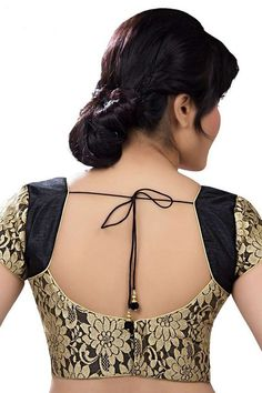 #Black & #gold designer wear raw #silk with net layer lovely #blouse with cap sleeves -BL702