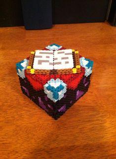 Perler Minecraft Enchantment Table by Dork-King on DeviantArt Easy Perler Bead Patterns, Melty Bead Patterns, Perler Bead Templates, Diy Perler Beads, Perler Bead Art, Beading Patterns, Hama Beads Minecraft, Minecraft Crafts, Minecraft Designs