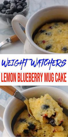 Weight Watchers Desserts - Microwave Mug Cake! Learn how to make a single serving of homemade Weight Watchers lemon blueberry cake in the microwave. One of the best microwave recipes in a mug. Quick and easy to make that is healthy and not processed boxed Weight Watchers Desserts, Weight Watcher Mug Cake, Microwave Mug Recipes, Mug Cake Microwave, Microwave Muffin, Microwave Cookies, Microwave Breakfast, Single Serve Desserts, Ww Desserts