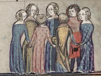 1338-44, French. From The Romance of Alexander; fol 172v The ladies have colorful dresses, all patterned except the center back whose cotehardie is parti-colored patterned and solid. Note the back view of the hair with the braids wrapping around. All have wide necklines.
