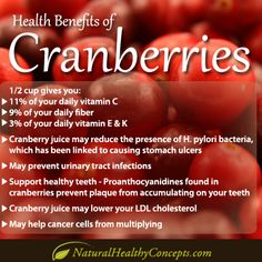 Health benefits of Cranberries! Don't like em? Get same Cranberry benefits in a supplement from Natural Healthy Concepts.