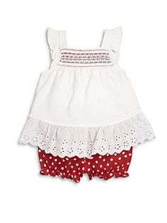 Hartstrings - Infant's Two-Piece Eyelet Top & Polka Dot Bloomers Set