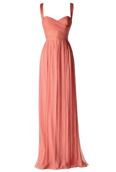 Brides.com: Brides' 18 Favorite Bridesmaid Dresses of 2012. Coral Crinkle Chiffon Bridesmaid Dress. A free-flowing coral chiffon gown is perfect for a Mediterranean-themed affair, or any summertime ceremony.  Silk crinkle chiffon, $310, Amsale  See more Amalfi Coast-inspired wedding ideas.