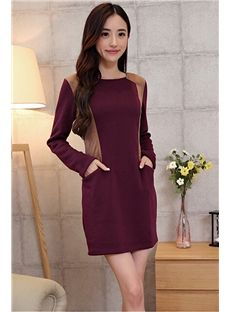 Color Block Thicken Long Sleeve Dress