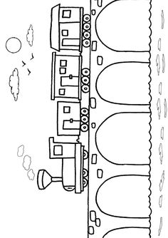 Free Online Printable Kids Colouring Pages - Train On Bridge Colouring Page