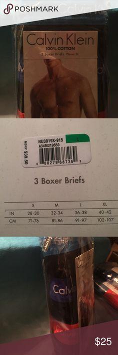 Men's Boxer Briefs 🔲 Calvin Klein Classsic Fit.  100% Cotton.  3 pair in Package.   Size LARGE:  36-38 Calvin Klein Underwear & Socks Briefs