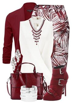 0b22c3c1b824 Burgundy Blazer, Burgundy Heels, White Burgundy, For Women, White Business  Dress,