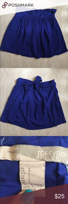 Pleated Forever 21 skirt Gorgeous royal blue pleated skirt that ties in the back. Never worn Forever 21 Skirts