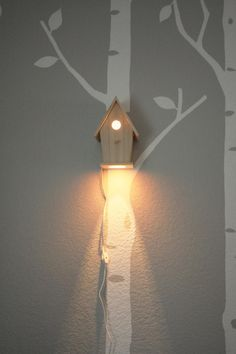 Avery Wall Hanging Birdhouse Lamp - Modern Baby Nursery Lighting - Love this nightlight So I was thinking this would a be cute light in the yard. Might want to cover -