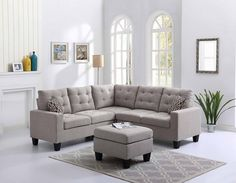 4 pc Andover mills pawnee blue gray faux linen fabric sectional sofa with ottoman. This set includes the right arm loveseat corner wedge and left arm loveseat and ottoman. Sectional as shown measures x x D X H. Ottoman measures x 28 Small Sectional Sofa, Fabric Sectional, Corner Sectional, Corner Couch, Sleeper Sectional, Sofa Furniture, Living Room Furniture, Living Room Decor, Modern Furniture