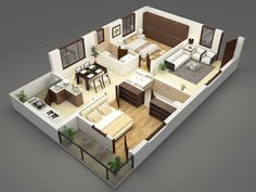 Floor Plans on Behance Two Bedroom House Design, Single Floor House Design, Home Design Floor Plans, Home Building Design, Bedroom House Plans, Small House Design, 2bhk House Plan, Sims House Plans, House Layout Plans