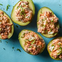 Salmon-Stuffed Avocados Canned salmon is a valuable pantry staple and a practical way to include heart-healthy fish in your diet. Here, we combine it with avocados in an easy no-cook meal. Canned Salmon Recipes, Avocado Recipes, Fish Recipes, Lunch Recipes, Seafood Recipes, Cooking Recipes, Meal Recipes, Dinner Recipes, Canned Salmon Salad