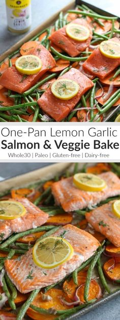 Make life easier this week with our Lemon Garlic One-Pan Salmon and Veggie Bake. Just one pan and minimal clean up! Whole30 | Gluten-free | Dairy-free | Paleo | http://therealfoodrds.com/one-pan-salmon-and-veggie-bake/