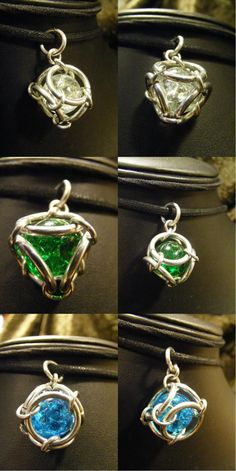 Caged Fried Marbles - nice accents to purses.I used too small rings; it was a pain to hold marble still and hook rings over it.  Those who have experience w/jewerly making will love. Not for me.