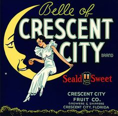 This fruit crate label was used on Crescent City Oranges, c. 1930s: 'Belle of Crescent City Brand. Seald Sweet. Crescent City Fruit Co. Growers & Shippers. Crescent City, Florida.' Crate labels were a frequent means of marketing fruit and vegetable packer brands at the turn of the century.