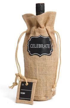 Celebrate burlap wine bag