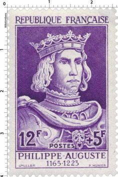 Timbre 1955 : PHILIPPE-AUGUSTE 1165-1223 | WikiTimbres