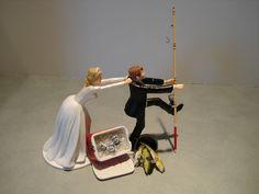 Fish Fishing Humor Funny Bride Groom Wedding Cake Topper Cooler Net Pole Beer ML