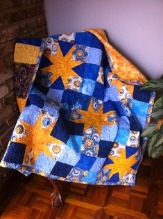 Yellow Stars on Sew Heavenly blue background 55x55