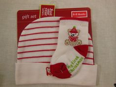 Infant Christmas Hat & Socks Carters My First Christmas Gift Set Christmas Bear  #Carters #Beanie