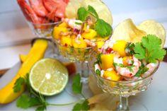 Räksallad med mango, lime och koriander Starters, Potato Salad, Salsa, Seafood, Mango, Lime, Appetizers, Snacks, Dinner