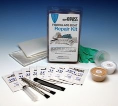 The kit contains enough epoxy, fiberglass and fillers to complete repairs to cracks and holes, gelcoat blisters, delaminated cored panels and much more.