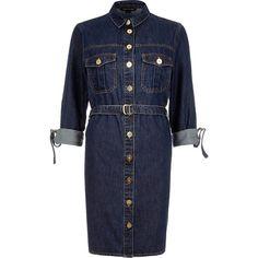 River Island Dark denim belted shirt dress ($71) ❤ liked on Polyvore featuring dresses, shirt dresses, women, river island, long shirt dress, blue dress, dark denim dress and shirt-dress
