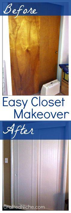 Trendy Home Diy Closet Door Makeover Closet Door Makeover, Sliding Closet Doors, Pantry Doors, Door Redo, Diy Door, Home Renovation, Home Remodeling, Simple Closet, Closet Remodel
