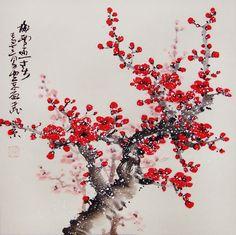 Chinese Cherry Blossom Tree Painting Chinese ink brush painting