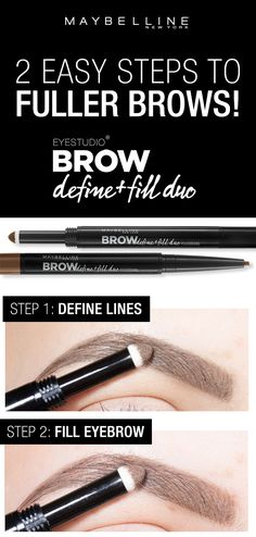 Two easy steps to fuller, natural looking brows using the Maybelline Define and Fill Duo! First, use the micro tip to define the lines around the brows. Next, use the powder side to fill the eyebrow (Eyebrow Makeup Step) Eyebrow Makeup, Skin Makeup, Beauty Makeup, Hair Beauty, Makeup Geek, Makeup Brushes, Eyebrow Brush, Eyebrow Pencil, Makeup Kit