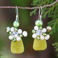 Elixir-Pearl and serpentine cluster earrings