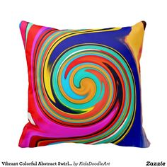 Vibrant Colorful Abstract Swirl of Melted Crayons Pillows