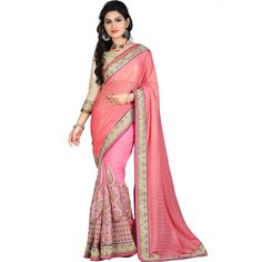 25fac2213f5f7a Buy Pink embroidered georgette saree with blouse party-wear-saree online
