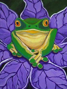 Green frog on a purple flower